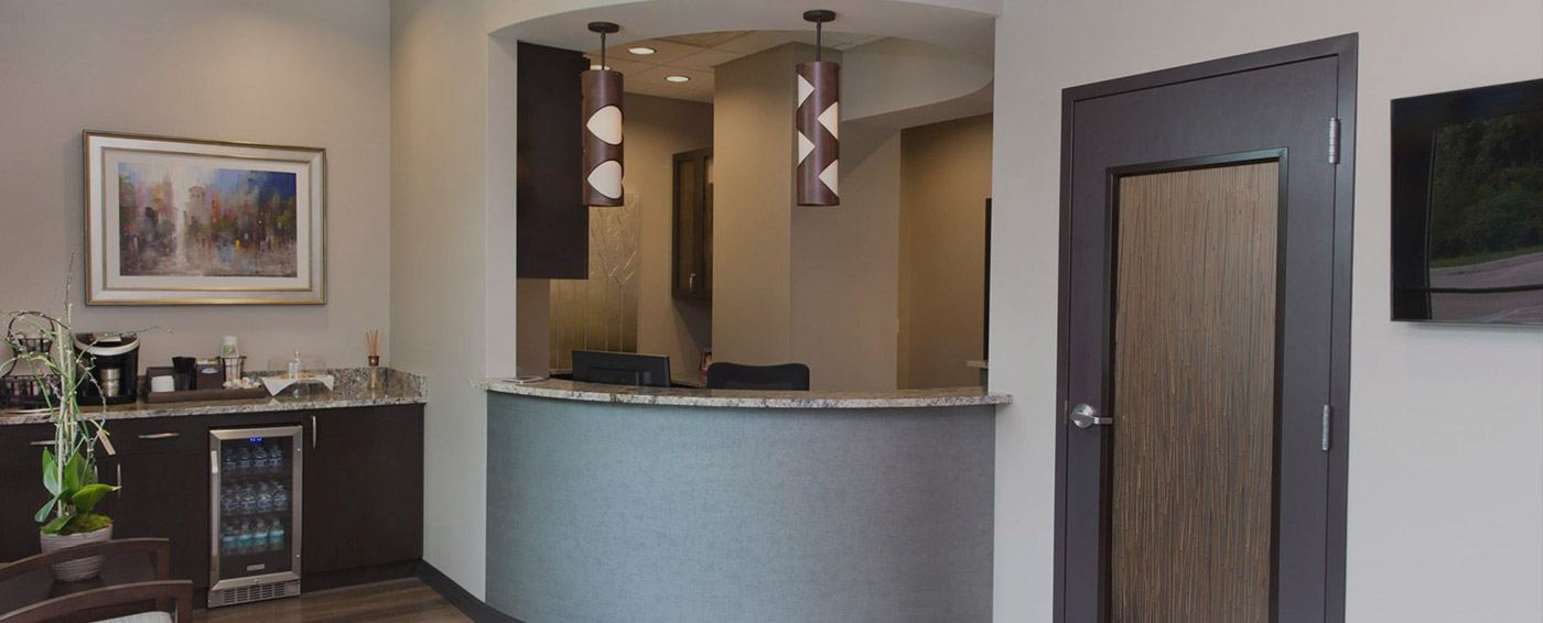 Reception desk and complimentary beverage bar